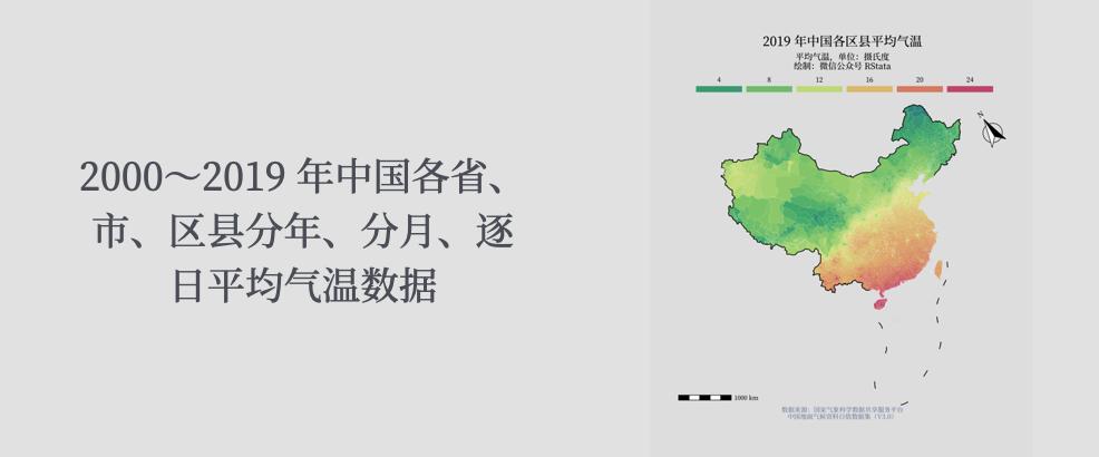 中国各省、市、区县分年、分月、逐日平均气温数据(2000~2019年)