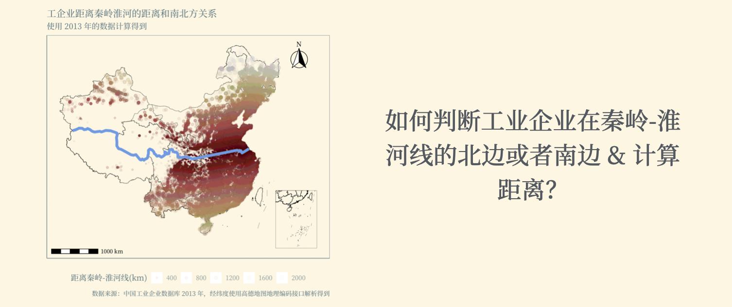 如何判断工业企业在秦岭-淮河线的北边或者南边 & 计算距离?