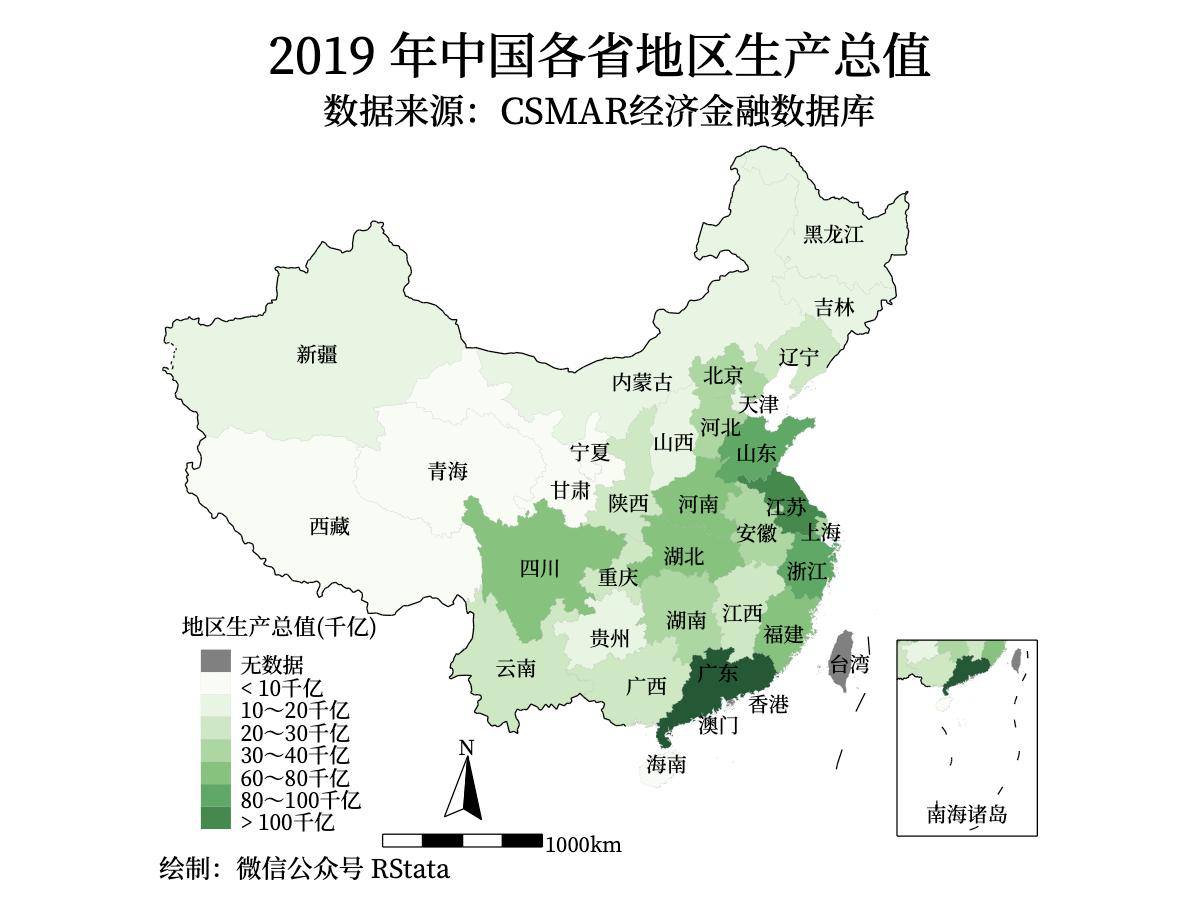 图二:2019 年中国各省地区生产总值