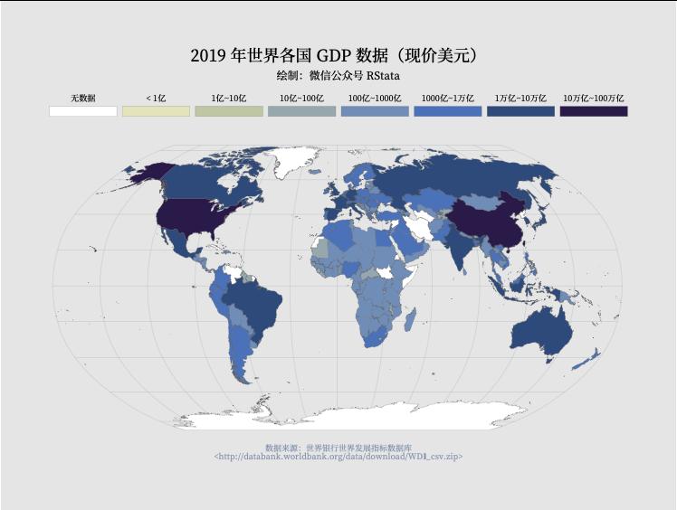2019 年世界各国或地区 GDP(现价美元)
